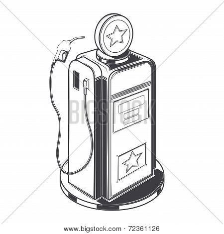 Gasoline Station Pump Isolated On A White Background. Line Art. Retro Design. Vector Illustration.