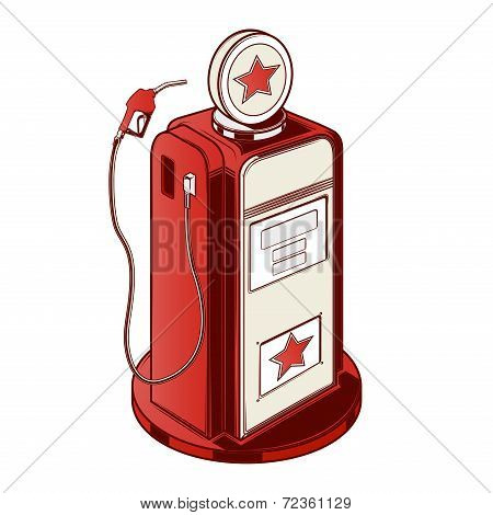 Gasoline Station Pump Isolated On A White Background. Color Line Art. Retro Design. Vector Illustrat