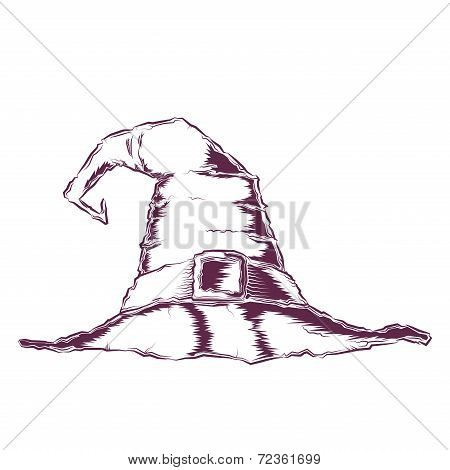 Creepy Witch Hat Isolated On A White Background. Line Art. Halloween Retro Design. Vector Illustrati