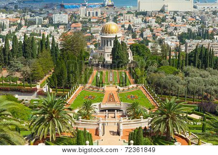 Baha'i gardens and temple, on the slopes of the Carmel Mountain, in Haifa, Israel