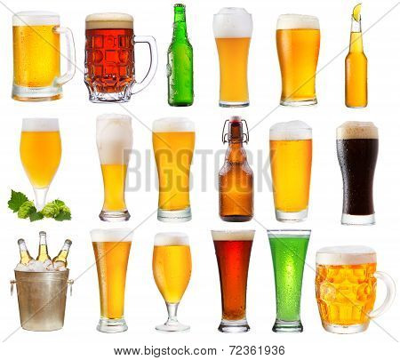 Set With Various Glasses And Bottles Of Beer
