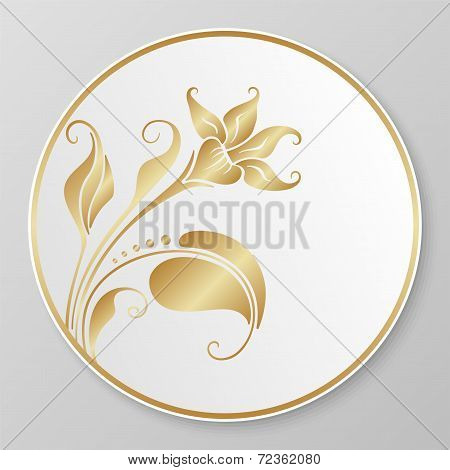 Vector Gold Decorative Plate.