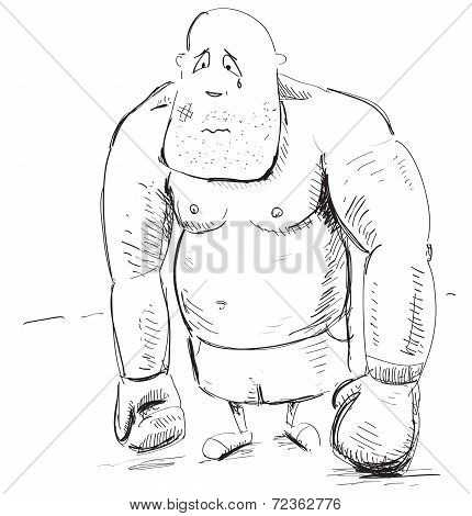 Box fighter sad character