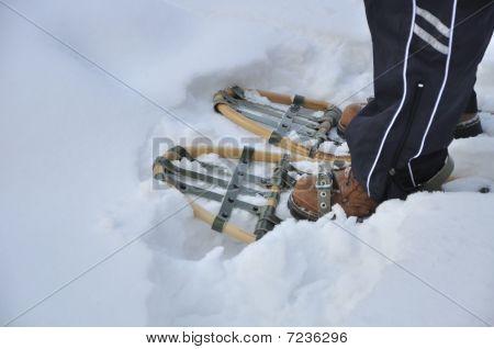 traditionellen alten Schneeschuhe