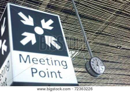 Meeting point sign at the airport