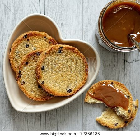 Rusks With Milk Jam