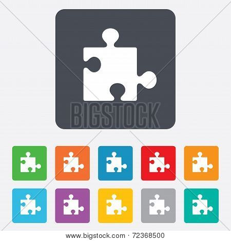 Puzzle piece sign icon. Strategy symbol.