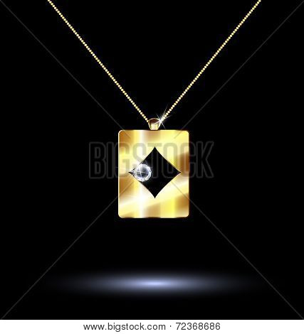Pendant Card Suit Diamonds