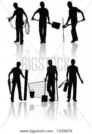 Workers vector silhouettes