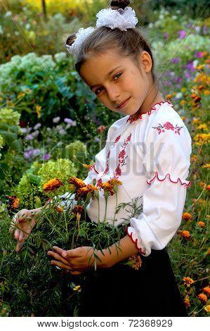 Girl Dressed In Ukrainian Folk Costume