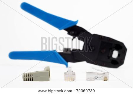 RJ45 Lan connector and Crimping tool.
