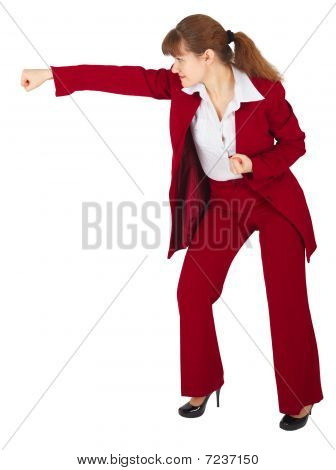 Businesswoman Punching Isolated On White