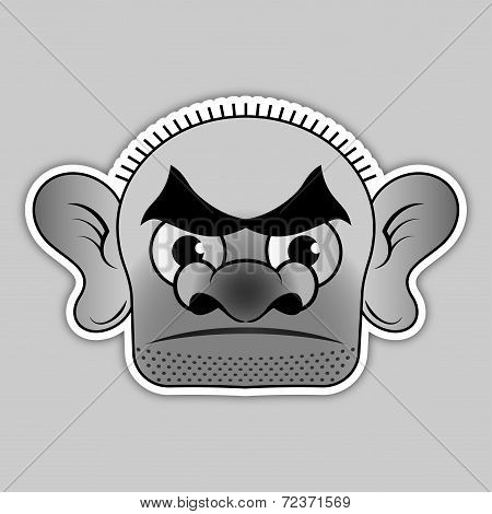 Sticker - Bald Villain With A Broad Black Eyebrows