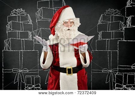 Santa Claus Reading an Invoice