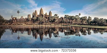 View Of Angkor Thom Temple Under Blue Sky. Angkor Wat, Siem Reap, Cambodia