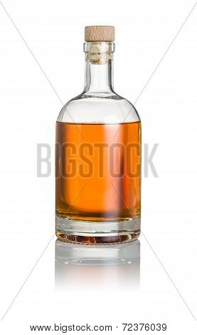 A whisky bottle on a white background