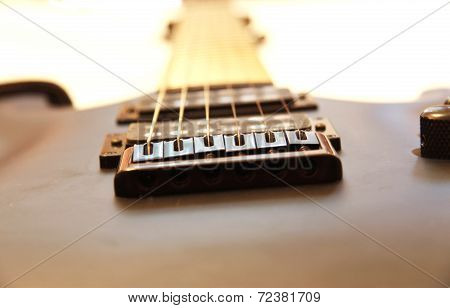 Black Electric Guitar Isolated On The White Backgriund