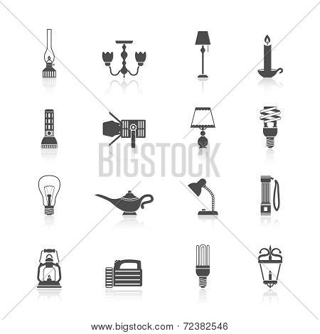 Flashlight and lamps icons black set