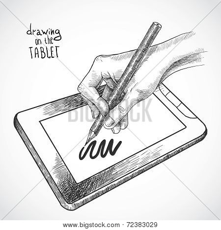 Hand drawing on the tablet