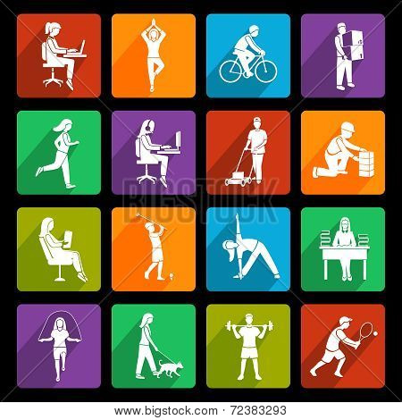 Physical activity icons flat
