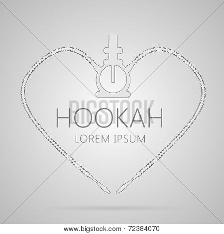 Outline abstract vector illustration of hookah