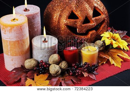 Happy Halloween Party Table Centerpiece With Orange Glitter Jack-o-lantern Pumpkin With Lit Candles