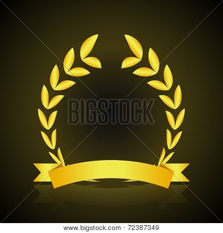 Gold wreath dark background