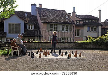 Traditional Oversized Street Chess, Zurich, Switzerland.
