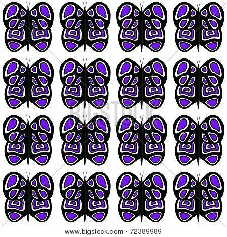 Medium Black-Purple-White Butterflies