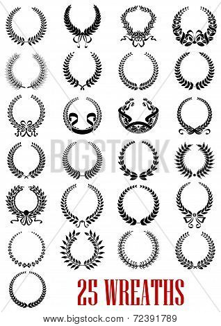 Vintage laurel wreath icons set