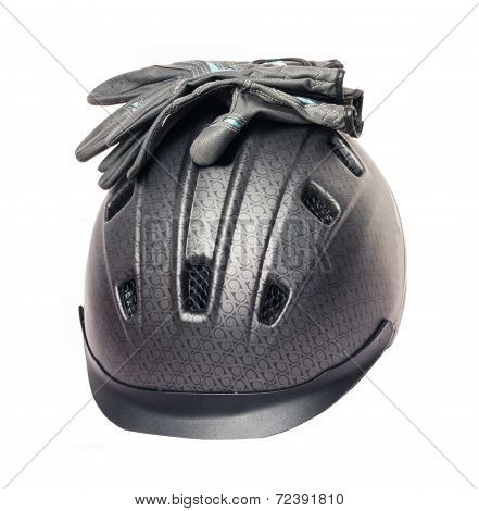 Horse Riding Grey  Helmet And Gloves