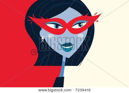 Woman face with masquerade party mask