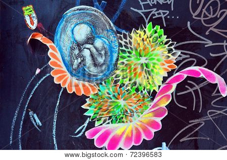 Street art Montreal fetus