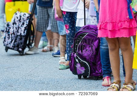 Students With Their Backpacks. First Day Of School For The Students In Thessaloniki, Greece.