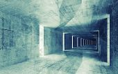 stock photo of green-blue  - 3d render green blue toned abstract empty concrete interior background - JPG