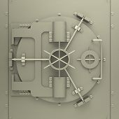 stock photo of vault  - 3d generated picture of a bank vault - JPG