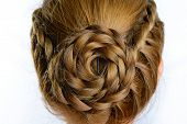 pic of braids  - long braid creative brown hair style isolated on white background  - JPG