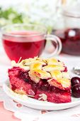 pic of cherry pie  - Cherry pie with lattice and cup of tea karkade - JPG