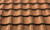stock photo of red roof tile  - red roof tiles completely laid also be used as background - JPG
