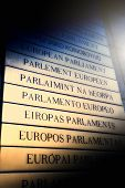 foto of nameplates  - Nameplate in all EU members languages in front of the European Parliament - JPG