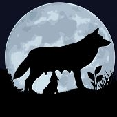 stock photo of wolf moon  - Silhouette of a wolf and wolfling on the background of the moon - JPG