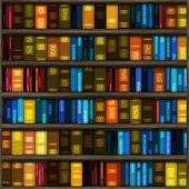 image of book-shelf  - Book case filled with colorful books and folders - JPG