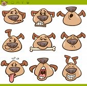 pic of emoticons  - Cartoon Illustration of Funny Dogs Expressing Emotions or Emoticons Set - JPG