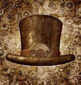 foto of fiction  - Steampunk top hat as a science fiction concept made of metal copper gears and cogs wearing a historical victorian retro head accessory as a technology symbol of futuristic fictional machine hybrid - JPG
