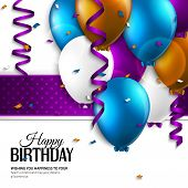 foto of helium  - Vector birthday card with balloons and birthday text - JPG