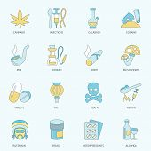 image of antidepressant  - Abuse addictive poison drugs antidepressant icons flat line set isolated vector illustration - JPG