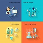 image of geriatric  - Nurse education geriatric practical medical service flat icons set isolated vector illustration - JPG