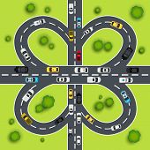 stock photo of intersection  - Highway traffic cloverleaf intersection top view background vector illustration - JPG