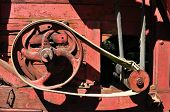 stock photo of sibiu  - sibiu city romania ethnic museum vintage red thresher detail - JPG