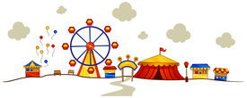 picture of ferris-wheel  - An Illustration of a Theme Park with Clipping Path - JPG
